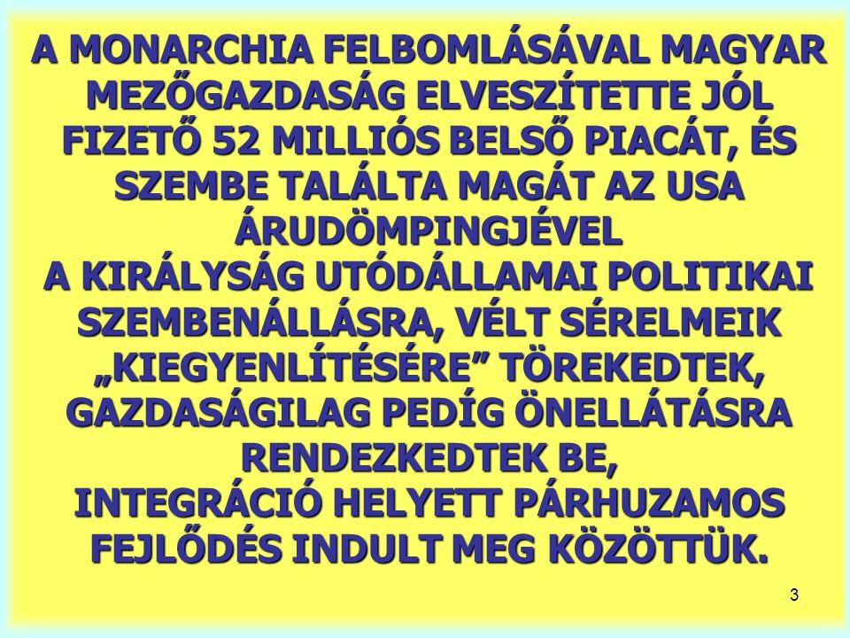 """3 A MONARCHIA FELBOMLÁSÁVAL MAGYAR MEZŐGAZDASÁG ELVESZÍTETTE JÓL FIZETŐ 52 MILLIÓS BELSŐ PIACÁT, ÉS SZEMBE TALÁLTA MAGÁT AZ USA ÁRUDÖMPINGJÉVEL A KIRÁLYSÁG UTÓDÁLLAMAI POLITIKAI SZEMBENÁLLÁSRA, VÉLT SÉRELMEIK """"KIEGYENLÍTÉSÉRE TÖREKEDTEK, GAZDASÁGILAG PEDÍG ÖNELLÁTÁSRA RENDEZKEDTEK BE, INTEGRÁCIÓ HELYETT PÁRHUZAMOS FEJLŐDÉS INDULT MEG KÖZÖTTÜK."""