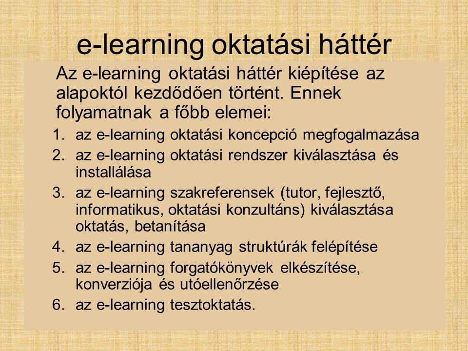 e-learning oktatási háttér Az e-learning oktatási háttér kiépítése az alapoktól kezdődően történt. Ennek folyamatnak a főbb elemei: 1.az e-learning ok