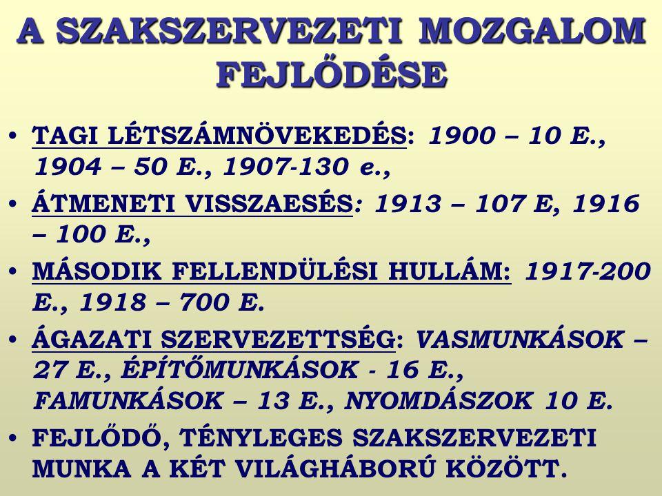 A SZAKSZERVEZETI MOZGALOM FEJLŐDÉSE TAGI LÉTSZÁMNÖVEKEDÉS: 1900 – 10 E., 1904 – 50 E., 1907-130 e., ÁTMENETI VISSZAESÉS : 1913 – 107 E, 1916 – 100 E., MÁSODIK FELLENDÜLÉSI HULLÁM: 1917-200 E., 1918 – 700 E.