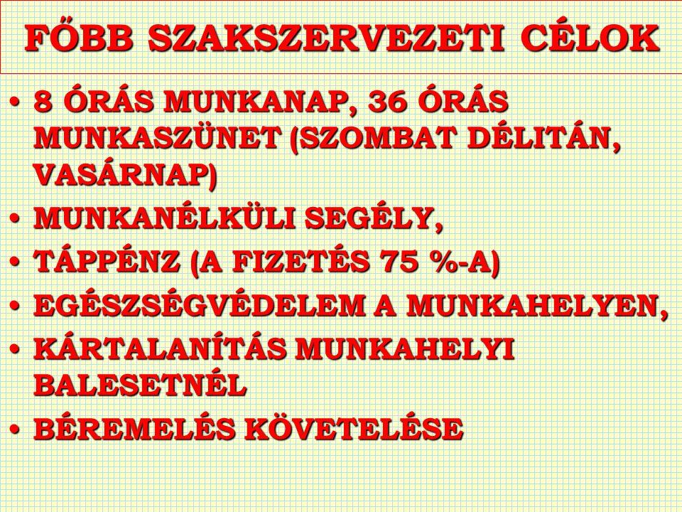 FŐBB SZAKSZERVEZETI CÉLOK 8 ÓRÁS MUNKANAP, 36 ÓRÁS MUNKASZÜNET (SZOMBAT DÉLITÁN, VASÁRNAP) 8 ÓRÁS MUNKANAP, 36 ÓRÁS MUNKASZÜNET (SZOMBAT DÉLITÁN, VASÁRNAP) MUNKANÉLKÜLI SEGÉLY, MUNKANÉLKÜLI SEGÉLY, TÁPPÉNZ (A FIZETÉS 75 %-A) TÁPPÉNZ (A FIZETÉS 75 %-A) EGÉSZSÉGVÉDELEM A MUNKAHELYEN, EGÉSZSÉGVÉDELEM A MUNKAHELYEN, KÁRTALANÍTÁS MUNKAHELYI BALESETNÉL KÁRTALANÍTÁS MUNKAHELYI BALESETNÉL BÉREMELÉS KÖVETELÉSE BÉREMELÉS KÖVETELÉSE