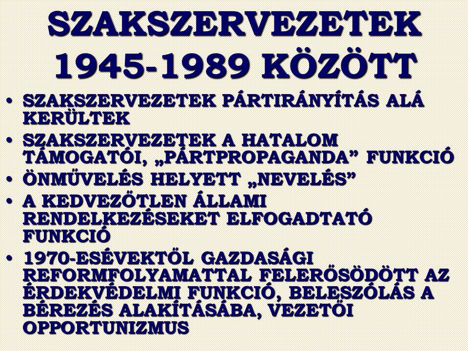 """SZAKSZERVEZETEK 1945-1989 KÖZÖTT SZAKSZERVEZETEK PÁRTIRÁNYÍTÁS ALÁ KERÜLTEK SZAKSZERVEZETEK PÁRTIRÁNYÍTÁS ALÁ KERÜLTEK SZAKSZERVEZETEK A HATALOM TÁMOGATÓI, """"PÁRTPROPAGANDA FUNKCIÓ SZAKSZERVEZETEK A HATALOM TÁMOGATÓI, """"PÁRTPROPAGANDA FUNKCIÓ ÖNMŰVELÉS HELYETT """"NEVELÉS ÖNMŰVELÉS HELYETT """"NEVELÉS A KEDVEZŐTLEN ÁLLAMI RENDELKEZÉSEKET ELFOGADTATÓ FUNKCIÓ A KEDVEZŐTLEN ÁLLAMI RENDELKEZÉSEKET ELFOGADTATÓ FUNKCIÓ 1970-ESÉVEKTŐL GAZDASÁGI REFORMFOLYAMATTAL FELERŐSÖDÖTT AZ ÉRDEKVÉDELMI FUNKCIÓ, BELESZÓLÁS A BÉREZÉS ALAKÍTÁSÁBA, VEZETŐI OPPORTUNIZMUS 1970-ESÉVEKTŐL GAZDASÁGI REFORMFOLYAMATTAL FELERŐSÖDÖTT AZ ÉRDEKVÉDELMI FUNKCIÓ, BELESZÓLÁS A BÉREZÉS ALAKÍTÁSÁBA, VEZETŐI OPPORTUNIZMUS"""