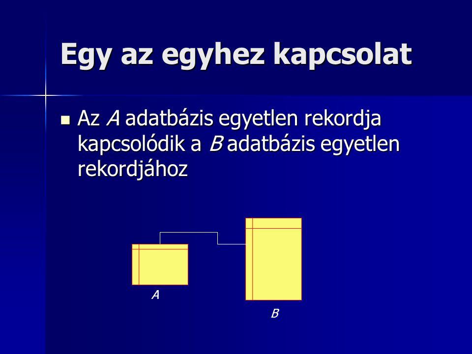 Egy az egyhez kapcsolat Az A adatbázis egyetlen rekordja kapcsolódik a B adatbázis egyetlen rekordjához Az A adatbázis egyetlen rekordja kapcsolódik a
