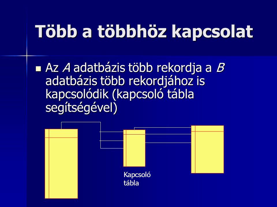 Több a többhöz kapcsolat Az A adatbázis több rekordja a B adatbázis több rekordjához is kapcsolódik (kapcsoló tábla segítségével) Az A adatbázis több