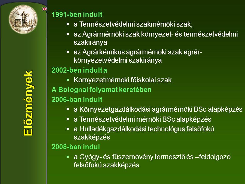 1991-ben indult  a Természetvédelmi szakmérnöki szak,  az Agrármérnöki szak környezet- és természetvédelmi szakiránya  az Agrárkémikus agrármérnöki