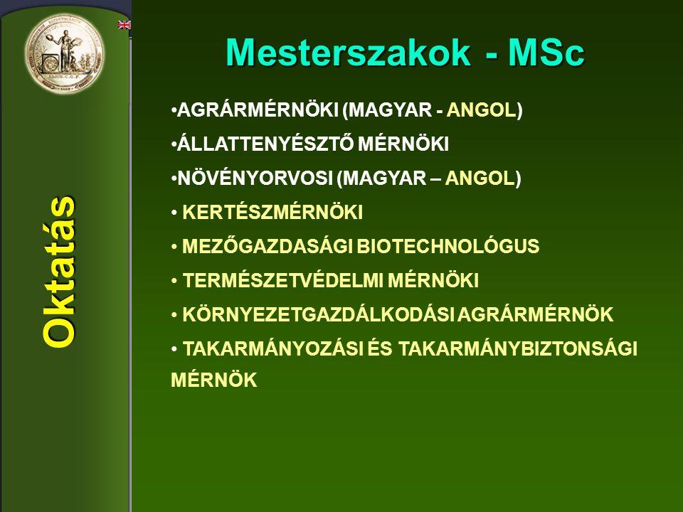 Oktatás Mesterszakok - MSc AGRÁRMÉRNÖKI (MAGYAR - ANGOL) ÁLLATTENYÉSZTŐ MÉRNÖKI NÖVÉNYORVOSI (MAGYAR – ANGOL) KERTÉSZMÉRNÖKI MEZŐGAZDASÁGI BIOTECHNOLÓ