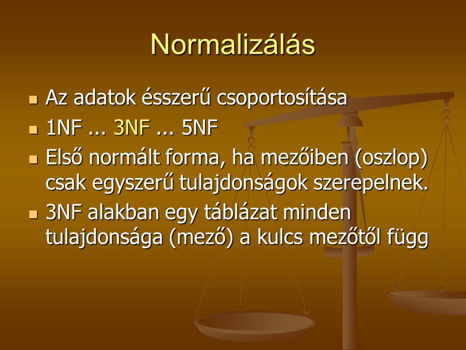 Normalizálás Az adatok ésszerű csoportosítása Az adatok ésszerű csoportosítása 1NF... 3NF... 5NF 1NF... 3NF... 5NF Első normált forma, ha mezőiben (os