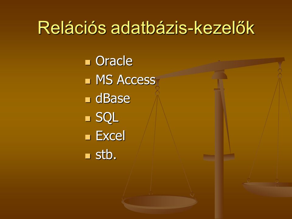 Relációs adatbázis-kezelők Oracle Oracle MS Access MS Access dBase dBase SQL SQL Excel Excel stb. stb.