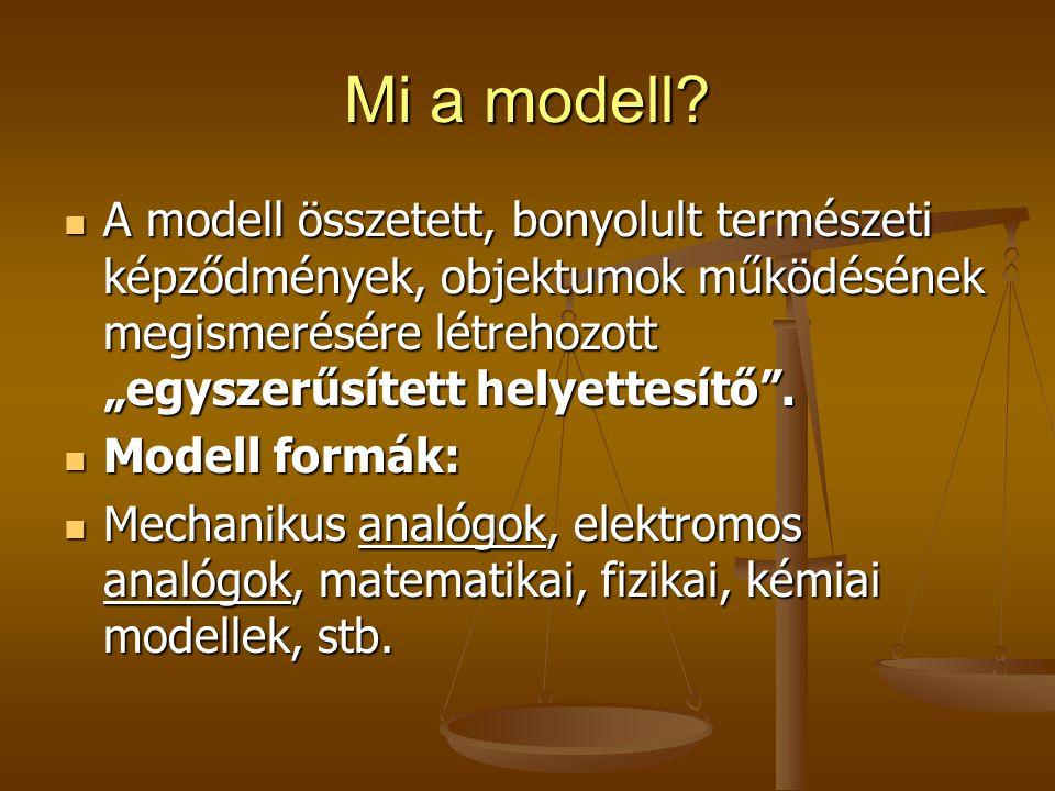 """Mi a modell? A modell összetett, bonyolult természeti képződmények, objektumok működésének megismerésére létrehozott """"egyszerűsített helyettesítő"""". A"""