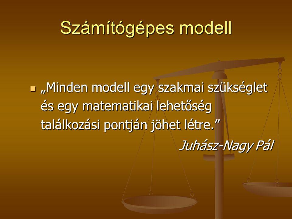 """Számítógépes modell """"Minden modell egy szakmai szükséglet és egy matematikai lehetőség találkozási pontján jöhet létre."""" """"Minden modell egy szakmai sz"""