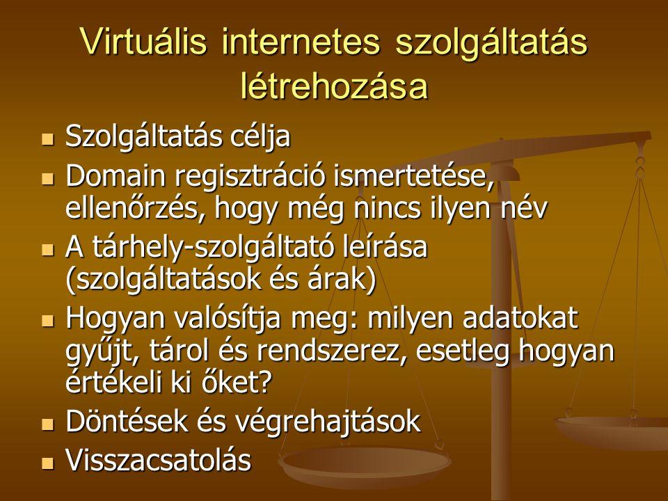 Virtuális internetes szolgáltatás létrehozása Szolgáltatás célja Szolgáltatás célja Domain regisztráció ismertetése, ellenőrzés, hogy még nincs ilyen