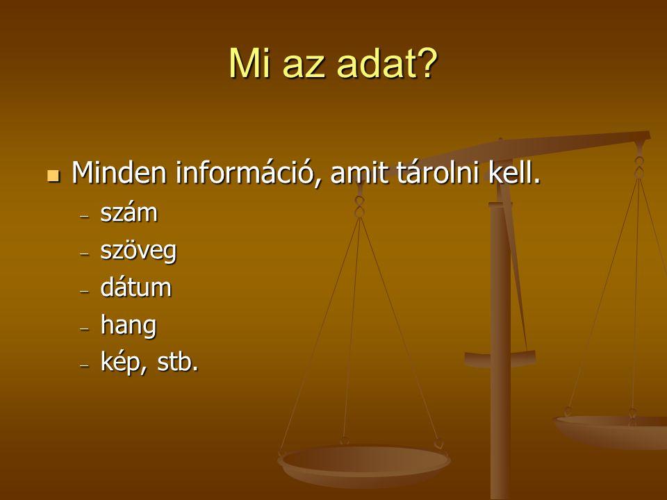 Mi az adat? Minden információ, amit tárolni kell. Minden információ, amit tárolni kell.  szám  szöveg  dátum  hang  kép, stb.