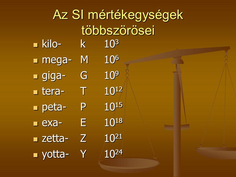 Az SI mértékegységek többszörösei kilo-k10 3 kilo-k10 3 mega-M10 6 mega-M10 6 giga-G10 9 giga-G10 9 tera-T10 12 tera-T10 12 peta-P10 15 peta-P10 15 ex