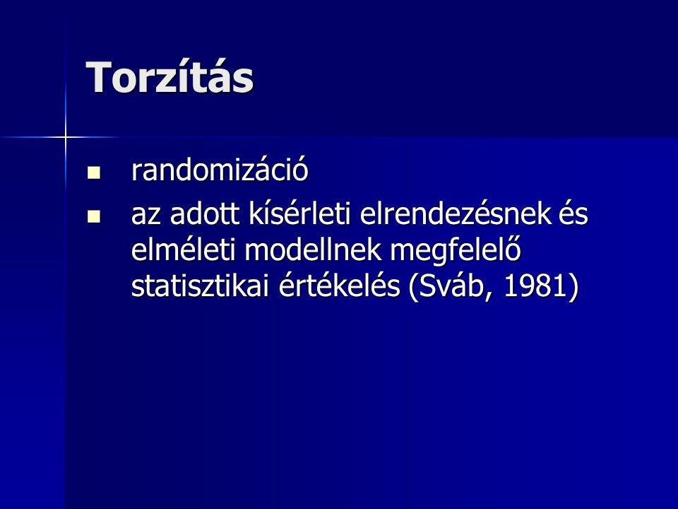 Torzítás randomizáció randomizáció az adott kísérleti elrendezésnek és elméleti modellnek megfelelő statisztikai értékelés (Sváb, 1981) az adott kísér