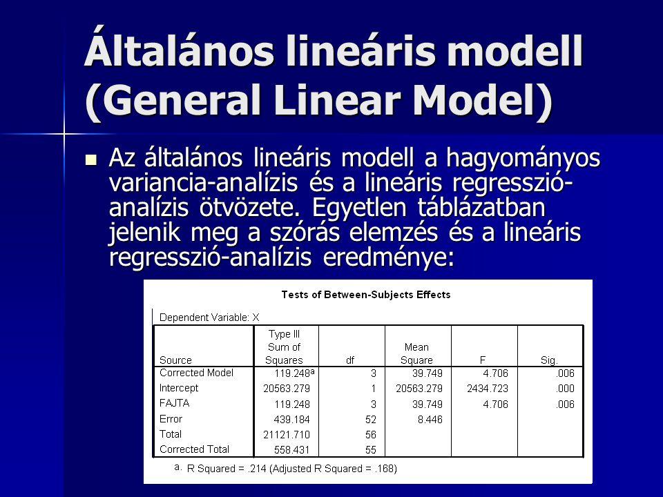 Általános lineáris modell (General Linear Model) Az általános lineáris modell a hagyományos variancia-analízis és a lineáris regresszió- analízis ötvö