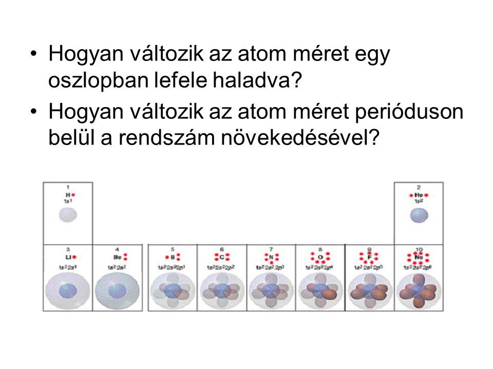 Hogyan változik az atom méret egy oszlopban lefele haladva? Hogyan változik az atom méret perióduson belül a rendszám növekedésével?