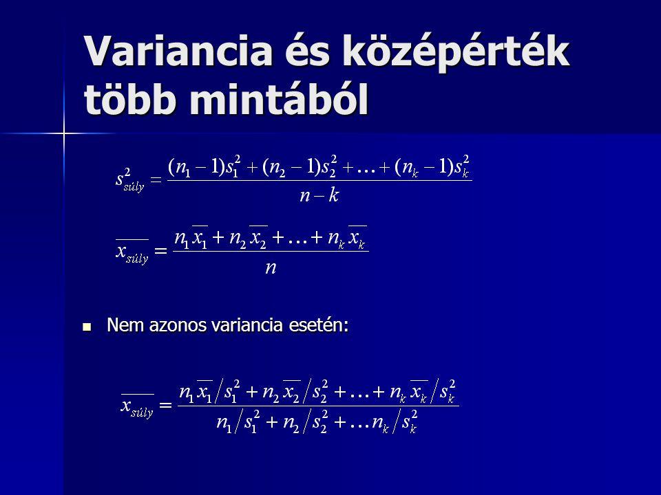 Variancia és középérték több mintából Nem azonos variancia esetén: Nem azonos variancia esetén: