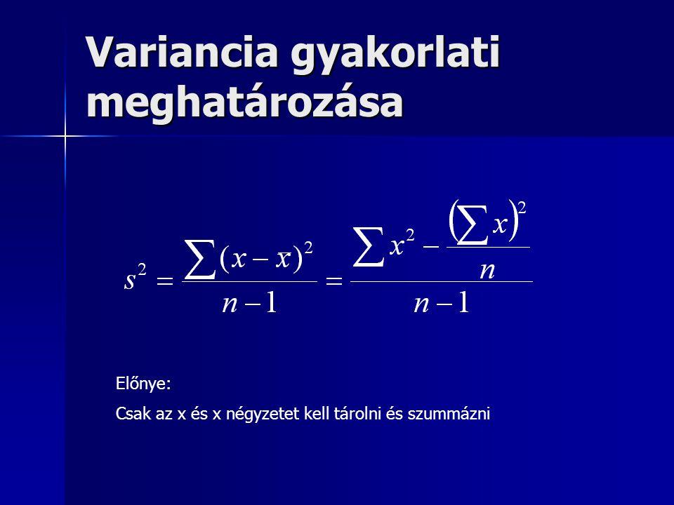 Variancia gyakorlati meghatározása Előnye: Csak az x és x négyzetet kell tárolni és szummázni