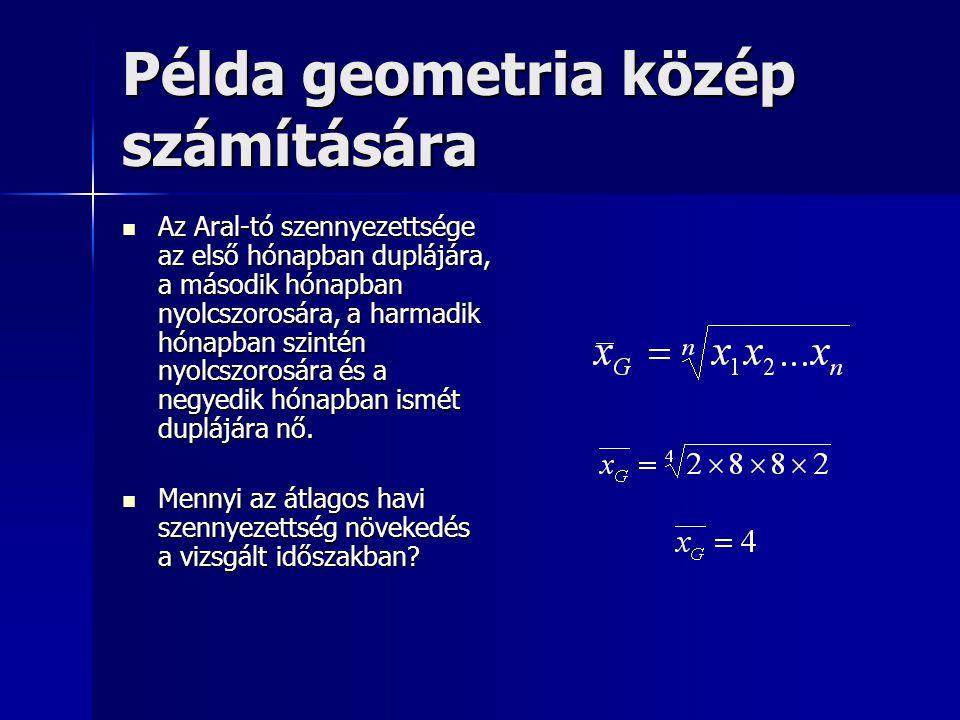 Példa geometria közép számítására Az Aral-tó szennyezettsége az első hónapban duplájára, a második hónapban nyolcszorosára, a harmadik hónapban szinté