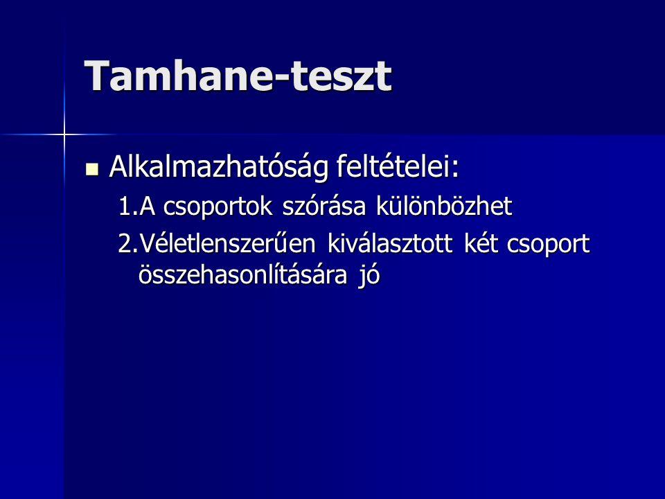 Tamhane-teszt Alkalmazhatóság feltételei: Alkalmazhatóság feltételei: 1.A csoportok szórása különbözhet 2.Véletlenszerűen kiválasztott két csoport összehasonlítására jó