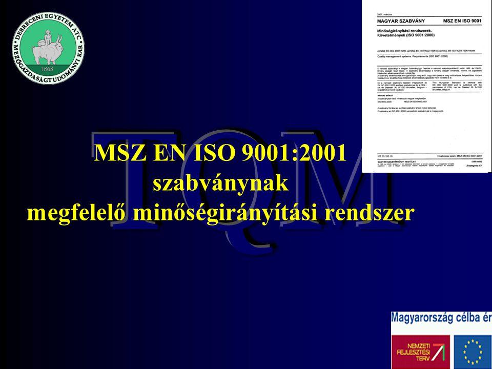 2 MSZ EN ISO 9001:2001 szabványnak megfelelő minőségirányítási rendszer