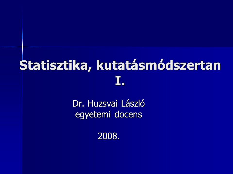 Statisztika, kutatásmódszertan I. Dr. Huzsvai László egyetemi docens 2008.