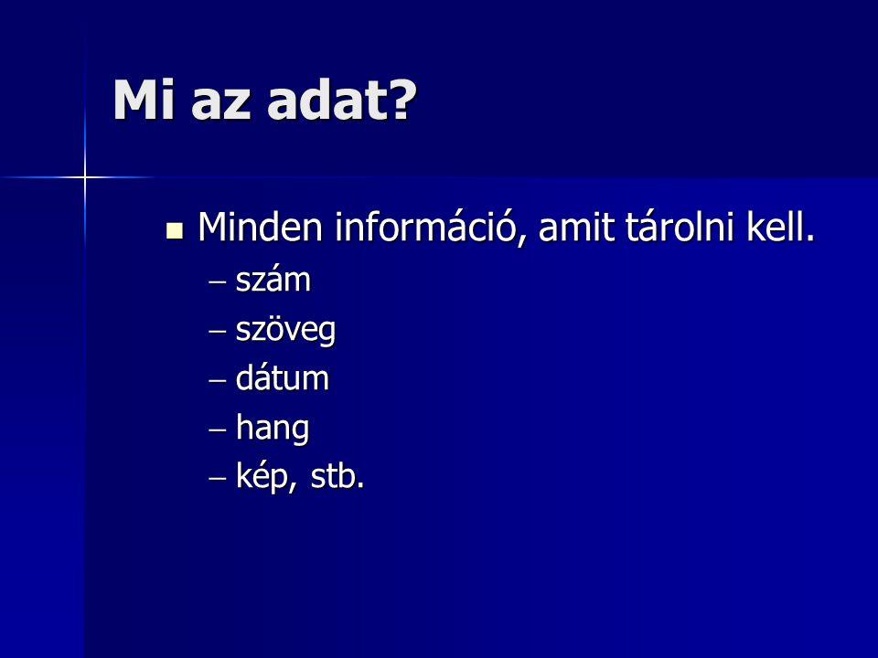Mi az adatbázis Egy témakör vagy cél köré csoportosuló információ.