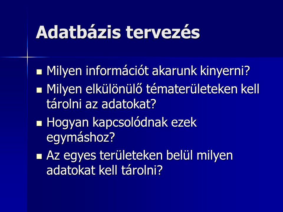 Adatbázis tervezés Milyen információt akarunk kinyerni? Milyen információt akarunk kinyerni? Milyen elkülönülő tématerületeken kell tárolni az adatoka