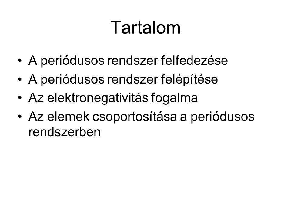Tartalom A periódusos rendszer felfedezése A periódusos rendszer felépítése Az elektronegativitás fogalma Az elemek csoportosítása a periódusos rendsz