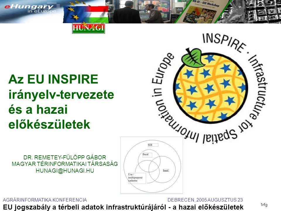 AGRÁRINFORMATIKA KONFERENCIA DEBRECEN, 2005 AUGUSZTUS 23 EU jogszabály a térbeli adatok infrastruktúrájáról - a hazai előkészületek 1rfg Az EU INSPIRE irányelv-tervezete és a hazai előkészületek DR.