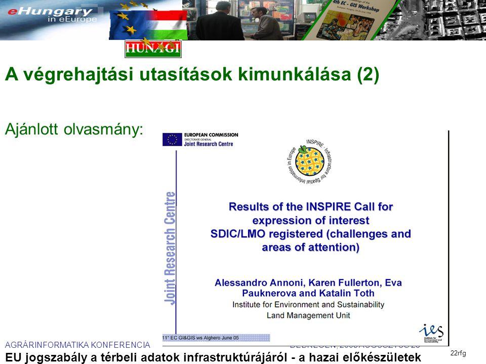AGRÁRINFORMATIKA KONFERENCIA DEBRECEN, 2005 AUGUSZTUS 23 EU jogszabály a térbeli adatok infrastruktúrájáról - a hazai előkészületek 22rfg A végrehajtási utasítások kimunkálása (2) Ajánlott olvasmány:
