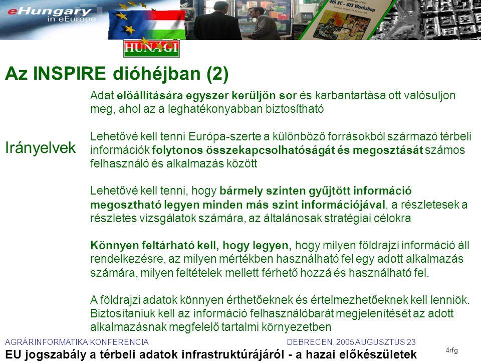 AGRÁRINFORMATIKA KONFERENCIA DEBRECEN, 2005 AUGUSZTUS 23 EU jogszabály a térbeli adatok infrastruktúrájáról - a hazai előkészületek 4rfg Az INSPIRE dióhéjban (2) Irányelvek Adat előállítására egyszer kerüljön sor és karbantartása ott valósuljon meg, ahol az a leghatékonyabban biztosítható Lehetővé kell tenni Európa-szerte a különböző forrásokból származó térbeli információk folytonos összekapcsolhatóságát és megosztását számos felhasználó és alkalmazás között Lehetővé kell tenni, hogy bármely szinten gyűjtött információ megosztható legyen minden más szint információjával, a részletesek a részletes vizsgálatok számára, az általánosak stratégiai célokra Könnyen feltárható kell, hogy legyen, hogy milyen földrajzi információ áll rendelkezésre, az milyen mértékben használható fel egy adott alkalmazás számára, milyen feltételek mellett férhető hozzá és használható fel.