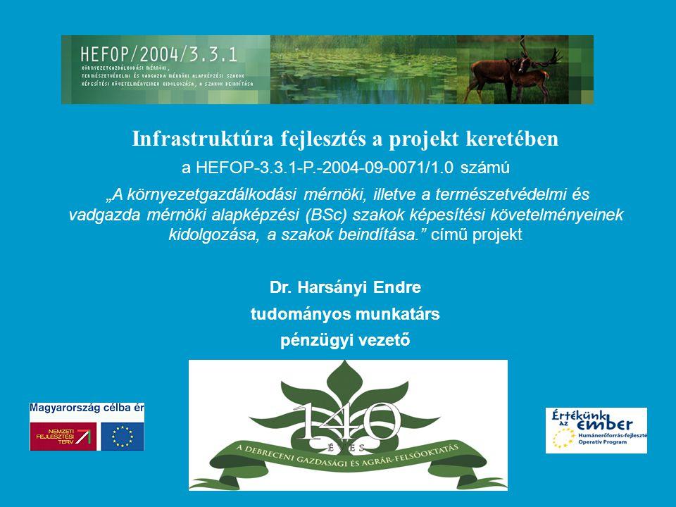 """Infrastruktúra fejlesztés a projekt keretében a HEFOP-3.3.1-P.-2004-09-0071/1.0 számú """"A környezetgazdálkodási mérnöki, illetve a természetvédelmi és vadgazda mérnöki alapképzési (BSc) szakok képesítési követelményeinek kidolgozása, a szakok beindítása. című projekt Dr."""