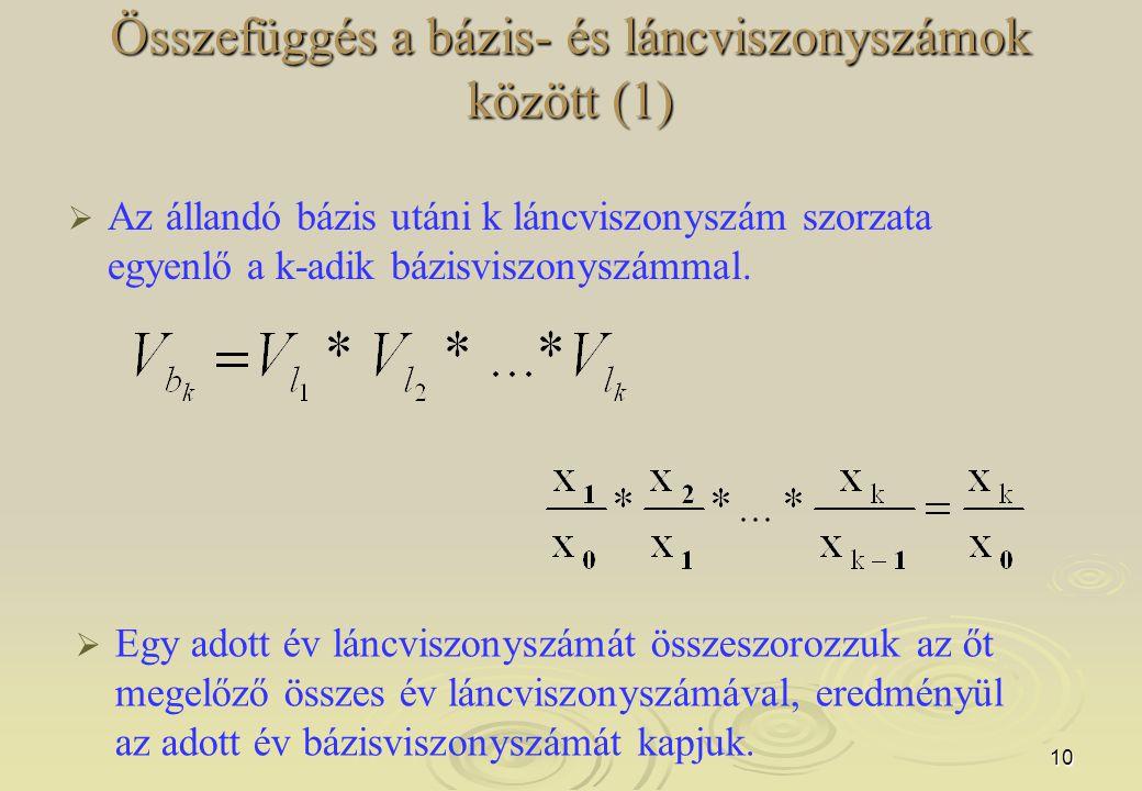 10 Összefüggés a bázis- és láncviszonyszámok között (1)   Az állandó bázis utáni k láncviszonyszám szorzata egyenlő a k-adik bázisviszonyszámmal. 