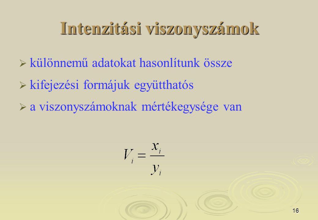 16 Intenzitási viszonyszámok   különnemű adatokat hasonlítunk össze   kifejezési formájuk együtthatós   a viszonyszámoknak mértékegysége van