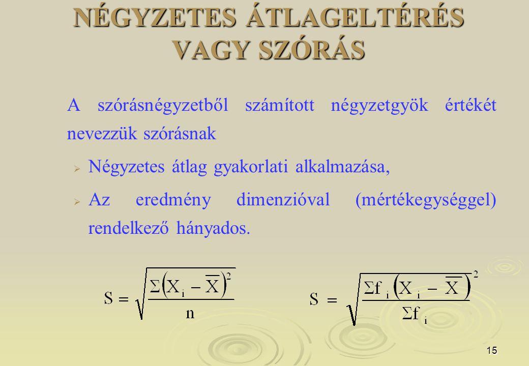 15 NÉGYZETES ÁTLAGELTÉRÉS VAGY SZÓRÁS A szórásnégyzetből számított négyzetgyök értékét nevezzük szórásnak   Négyzetes átlag gyakorlati alkalmazása,