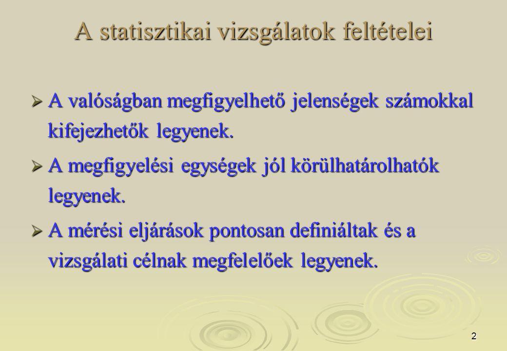 33 Minőségi sor Gyakorisági sor Értékösszeg sor Területi sor Tartam idősor Állapot idősor Leíró sor A statisztikai sorok a leíró sort kivéve egyneműek.