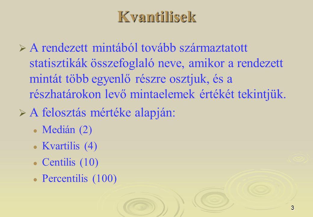 3Kvantilisek   A rendezett mintából tovább származtatott statisztikák összefoglaló neve, amikor a rendezett mintát több egyenlő részre osztjuk, és a