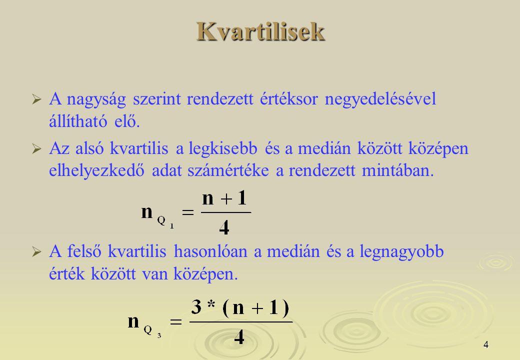 4Kvartilisek   A nagyság szerint rendezett értéksor negyedelésével állítható elő.   Az alsó kvartilis a legkisebb és a medián között középen elhel