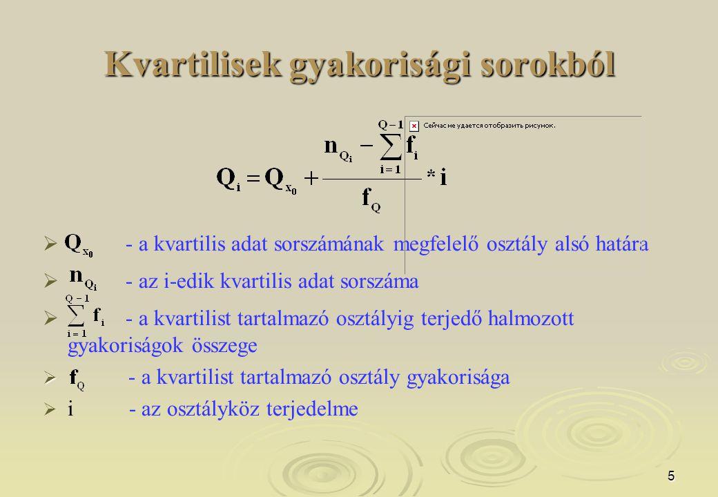 5 Kvartilisek gyakorisági sorokból   - a kvartilis adat sorszámának megfelelő osztály alsó határa   - az i-edik kvartilis adat sorszáma   - a kv