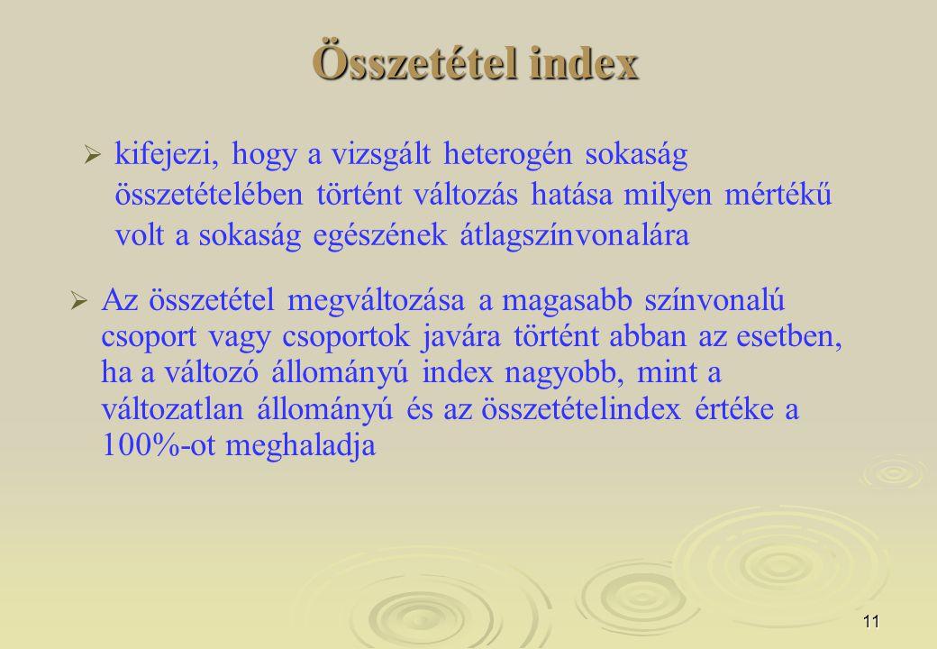 11 Összetétel index Összetétel index   kifejezi, hogy a vizsgált heterogén sokaság összetételében történt változás hatása milyen mértékű volt a soka
