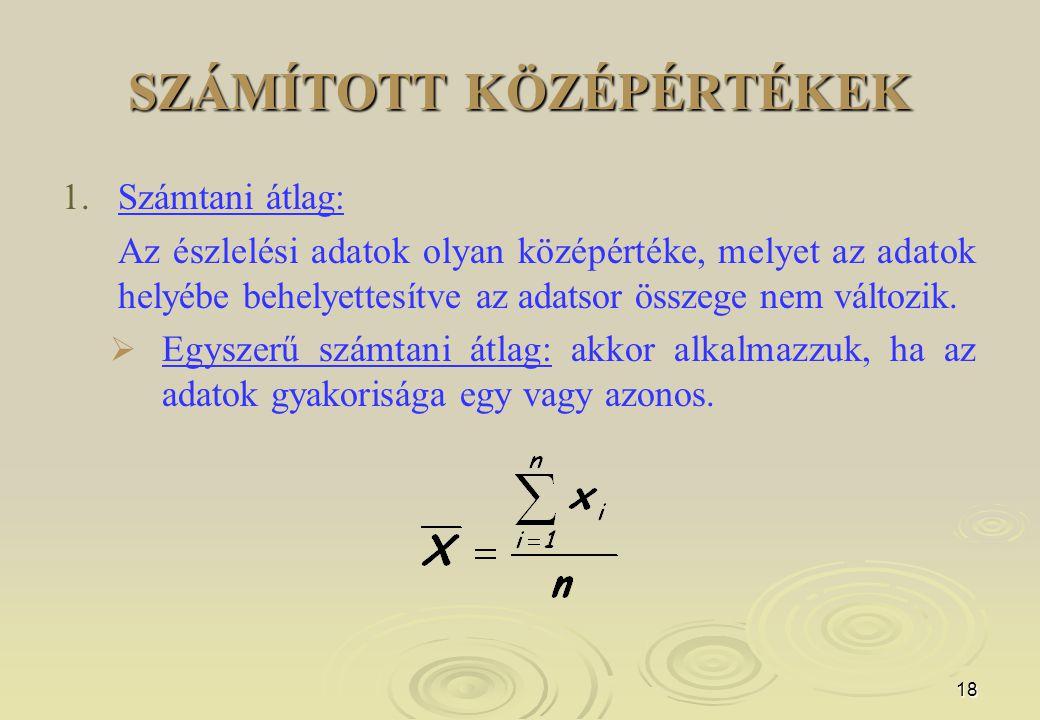 18 SZÁMÍTOTT KÖZÉPÉRTÉKEK 1.