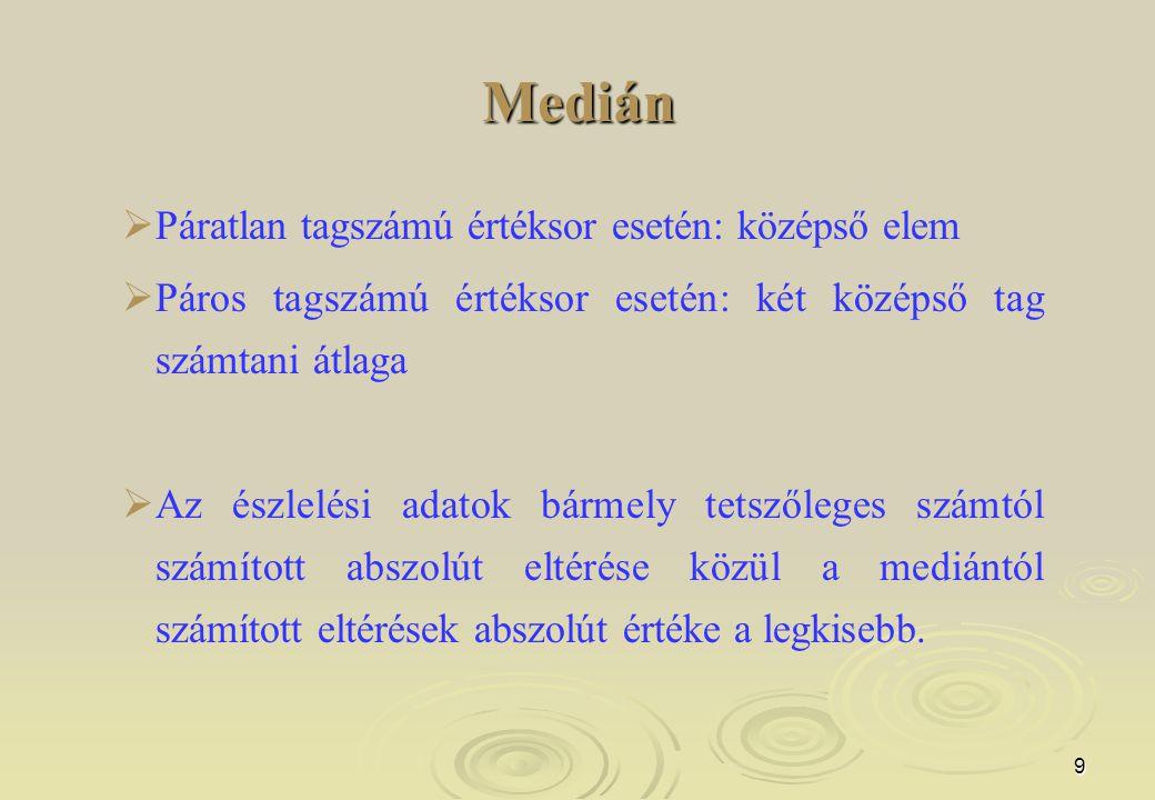 10 Medián gyakorisági sorból  me xo – a mediánt tartalmazó osztály alsó határa  - a gyakoriságok halmozott összege a mediánt tartalmazó osztályig  f me – a mediánt tartalmazó osztály gyakorisága  i – az osztályközök nagysága