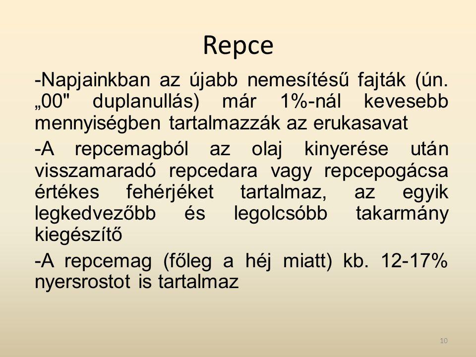 """Repce -Napjainkban az újabb nemesítésű fajták (ún. """"00"""