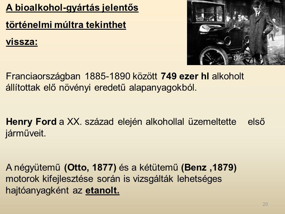 A bioalkohol-gyártás jelentős történelmi múltra tekinthet vissza: Franciaországban 1885-1890 között 749 ezer hl alkoholt állítottak elő növényi eredet