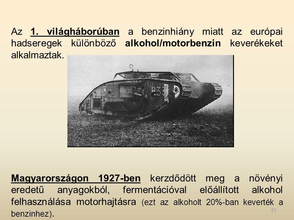 Az 1. világháborúban a benzinhiány miatt az európai hadseregek különböző alkohol/motorbenzin keverékeket alkalmaztak. Magyarországon 1927-ben kerzdődö