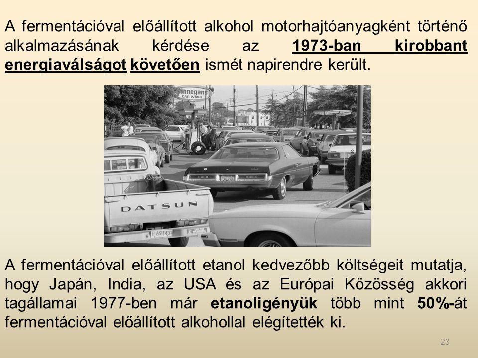A fermentációval előállított alkohol motorhajtóanyagként történő alkalmazásának kérdése az 1973-ban kirobbant energiaválságot követően ismét napirendr