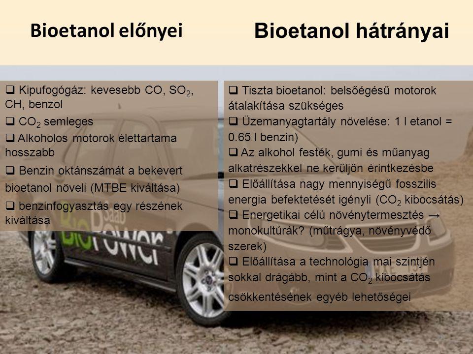 Bioetanol előnyei  Kipufogógáz: kevesebb CO, SO 2, CH, benzol  CO 2 semleges  Alkoholos motorok élettartama hosszabb  Benzin oktánszámát a bekever