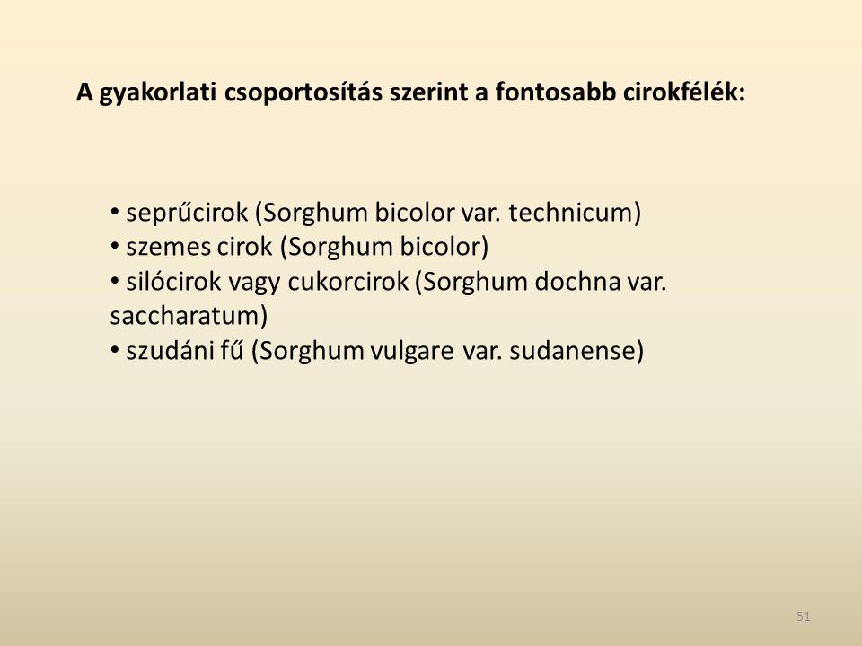 A gyakorlati csoportosítás szerint a fontosabb cirokfélék: seprűcirok (Sorghum bicolor var. technicum) szemes cirok (Sorghum bicolor) silócirok vagy c