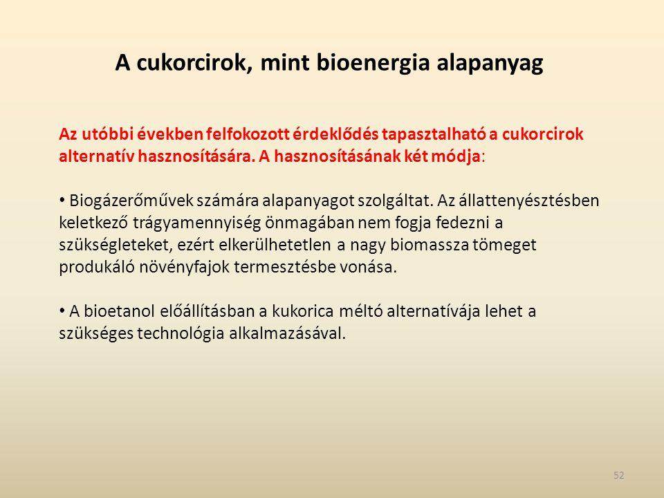 A cukorcirok, mint bioenergia alapanyag Az utóbbi években felfokozott érdeklődés tapasztalható a cukorcirok alternatív hasznosítására. A hasznosításán