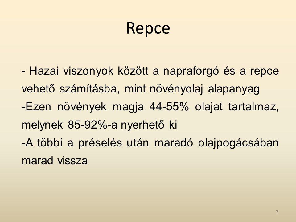 Repce - Hazai viszonyok között a napraforgó és a repce vehető számításba, mint növényolaj alapanyag -Ezen növények magja 44-55% olajat tartalmaz, mely